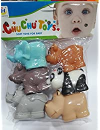 Babytintin™ High Quality Non-Toxic Soft Chu Chu Different Animal Bath Toys Set Of 6 Multi-color.