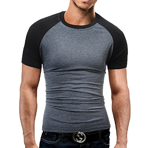 BOMOVO Herren T-Shirt Shirt Oberteil NEW QUAY TEE Schwarz Grau Weiß Slim Fit Grau