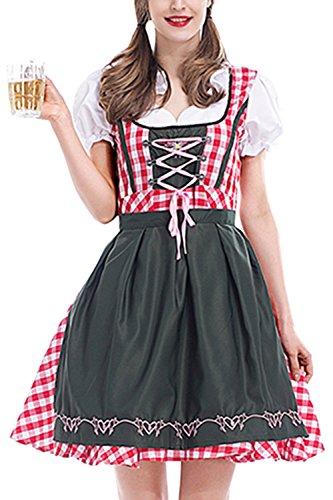 Zonsaoja Damen Kostüme Für Bayerische Oktoberfest Deutschen Dirndl Mini Kleid rot 3XL