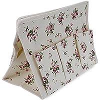 shuzhen-kitchen,Tejido patrón floral de estilo pastoral multifunción bolsa de almacenamiento Organizador Oficial de tejido caja de suministros.(color:Blanco)