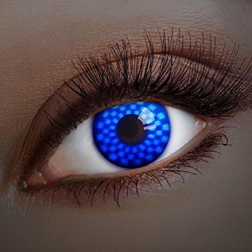aricona Farblinsen leuchtende UV Kontaktlinsen Halloween Kostüm / (Blaue Leuchtend Kontaktlinsen)