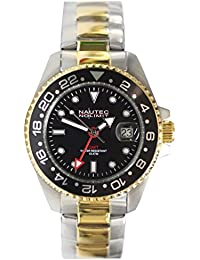 No limit Nautec hombre-reloj analógico chapado en acero inoxidable jack Fish automáticolink JKFS-QZ-GMT-STGDSTGDBKBK