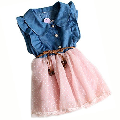2014 New Girls Summer Princess Dress Denim Yarn Sleeveless 1 Piece Dress 1-4x (8 (Fit 1-2y), pink) by ACEFAST INC (Inc Acefast)