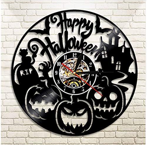 Vinyl Uhr Kürbis Party Wanduhr Handgeschnitzte Schallplatte Uhr Halloween Shadow Art Silhouette Mit Led Licht 12 Zoll