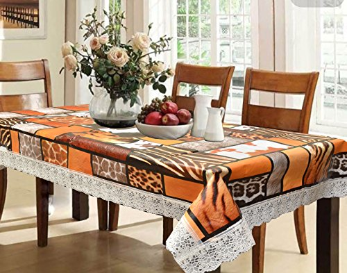 Kuber Industries™ Waterproof Dining Table Cover 6 Seater 60*90 Inches (Tiger Print Design) Multicolor  available at amazon for Rs.499