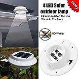 Solar Wandleuchte, 4 LED Solarleuchte Lampe, Led Wireless Wetterfeste Licht mit Batterie, für Garten, Zaun, Hof, Auffahrt, Treppen (Weißes Licht)