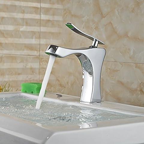 LYNDM Grifo del baño de cromo con un asa de agua caliente y fría, lavabos grifo mezclador de regalo de