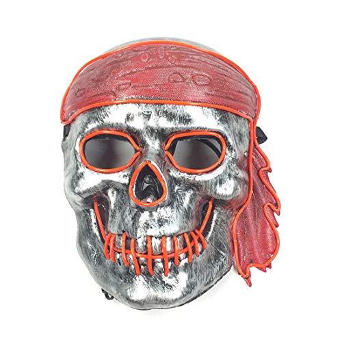GRYY EL kaltlicht Monochrome Maske Halloween Glow Maske Dance Party Performance led licht Linie Maske Cosplay Karneval Geschenk Festival,Red-Voice Control