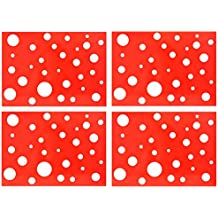 Juego de 4manteles individuales, color rojo con lunares blancos, 32x 45cm, fácil de limpiar., manteles, manteles individuales, alfombrillas de mesa