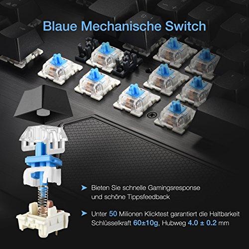 Gaming Tastaturen, TopElek Mechanische Gaming Tastatur 105-Key Blue Switches Aluminium-Legierungspanel Gaming Keyboard, Keyclick mit Multi-Color-Beleuchtung und USB-Kabel Angeschlossen mit Key Cap Puller für Gamer, Schreibkräfte usw.-Deutsches layout QWERTZ - 2