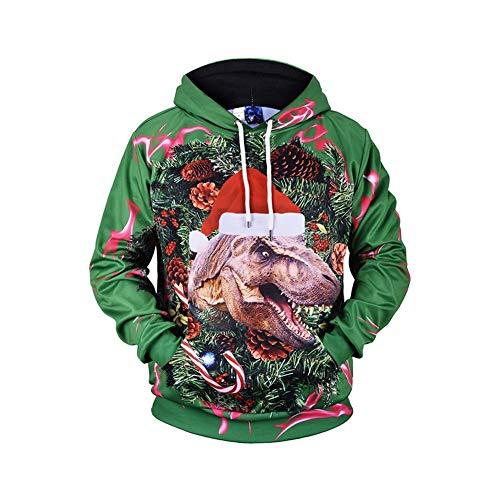 3D Printed Pullover Tops, hässliche Weihnachten Unisex Plus Size Herbst Winter Hoodies HD 3D-Druck Pullover mit Taschen (Farbe : Picture Colour, Größe : XXXL) ( Farbe : Picture color , Größe : L )