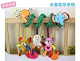 Baby Bucket Baby Bed and Stroller Elephant Toy Baby Rattle Bed Hanging Activity Spiral with Teether & Music