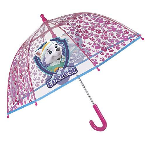 Regenschirm Transparent Paw Patrol für Mädchen mit Skye und Everest - Winddicht und Beständig Kuppel mit Sicherheitsöffnung - Durchsichtig und Fuchsia - 3/6 Jahre - Durchmesser 64 cm - Perletti