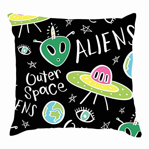 dfgi Aliens Spaceships Repeating texturealien Beauty Fashion Throw Pillow Covers Cotton Linen Cushion Cover Cases Pillowcases Sofa Home Decor 18