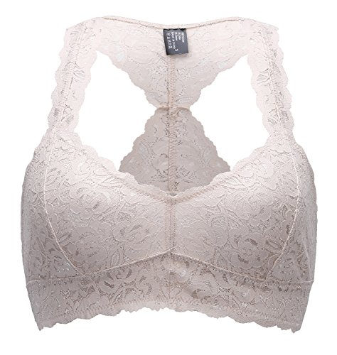 ANGOOL Damen Lace Bralette Soft Tops Bustier BH Ungepolsterte Cups (Beige Lace Bras)