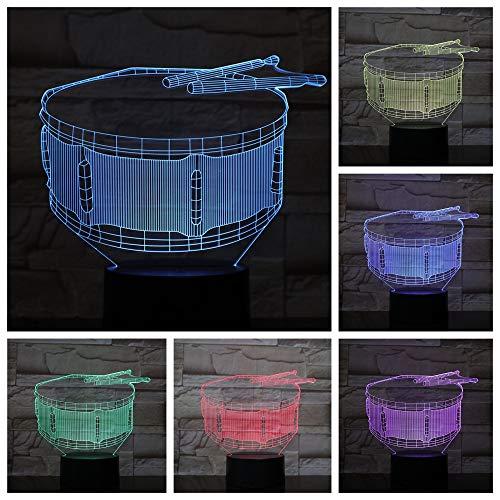 Snaredrum Des Nachtlichts 3D (Berührungsschalter) 3D Led-Nachtlicht Usb 7 Farbe Kinder Baby Neon Nachttischlampe Schlafzimmer Tischlampe Urlaub Junge Mädchen Geschenk