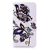 Chreey Huawei Honor 7X Hülle, Leder Handyhülle Flip Case Bunt Muster Handy Schutzhülle mit Brieftasche Kartenfach Magnetverschluss [Braun Schmetterling]