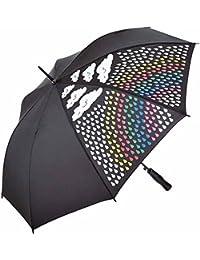 Fare - parapluie original - magique - couleur change sous la pluie - Noir - Arc en ciel - 1142C