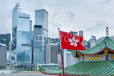 "Poster-Bild 50 x 30 cm: ""Hong Kong Flag with urban background"", Bild auf Poster"