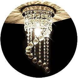 KAWELL Lámpara de Araña de Cristal Lámpara de Techo Luz Moderno Candelabro de Cristal Lámpara Colgante para Dormitorio, Sala de Estar, Corredor, Pasillo (Altura 37CM, Diámetro 20CM)