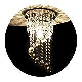 KAWELL Moderno Lampadario di Cristallo Plafoniera Luce Soffitto Lampada da Soffitto Cristallo K9 Cromo Acciaio Inox per Camera da Letto, Sala, Soggiorno, Corridoio(Altezza 37CM, Diametro 20CM)