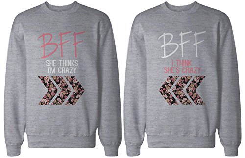 BFF regalo, accesorios BFF–Crazy BFF estampado Floral gris Sudaderas para mejores amigos -  -  izquierda-XX-Large / derecho-XX-Large