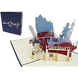 LIN-POP UP 3D Grußkarten Stadtkarten Hamburg, Glückwunschskarten Geburtstagskarten Gutscheinskarten Hamburg