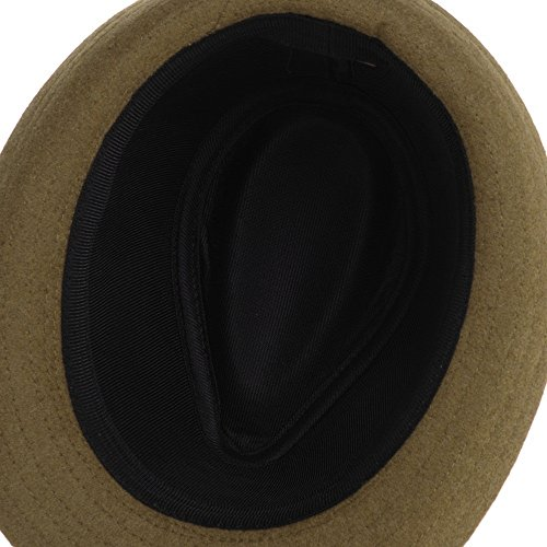 WITHMOONS Chapeau Fedora Wool Felt Fedora Hat Trilby Leather Belt Band SL6448 Jaune