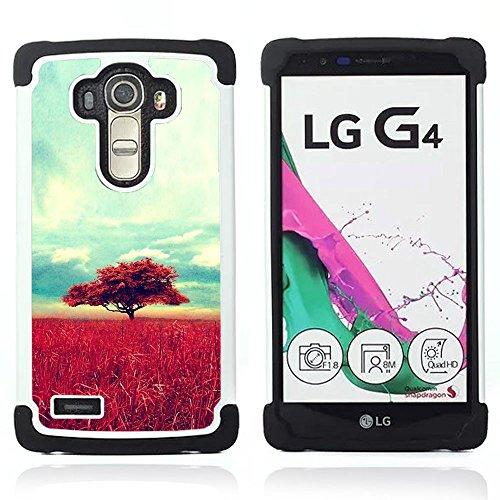 LG G4 H815 H810 H811 LS991 LS986 US991 H815 U812 - 3 in 1 Colorful Heavy Duty Stampato in PC Soft silicone nero della copertura gel della cassa Jacket (Africa Savannah Natura Albero Campo)