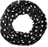 styleBREAKER Punkte Muster Loop Schlauchschal, seidig leicht, Tuch, Damen 01016111, Farbe:Schwarz-Weiß