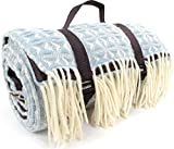 Extra Large Waterproof 100% Wool Picnic Blanket / Travel Rug / Camping / Beach Mat. Made in UK for Bushga - Sky Blue