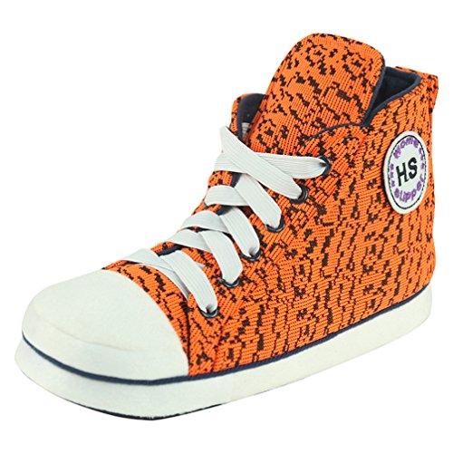 Home Slipper Damen Klassisch Hausschuhe Sneakers Turnschuhe antislip Pantoffeln mit orange Mosaik Muster