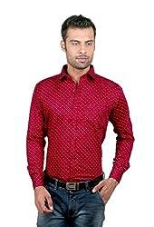 ZIDO Cotton Maroon Printed Men's Shirt