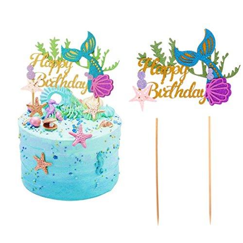 Wetrys 2Pcs Glitter Mermaid Kuchendekoration Happy Birthday Kuchen Picks Mermaid Kuchen, Dekoration für Meerjungfrau Baby Dusche Geburtstag Party Supplies