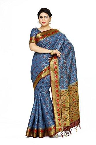 Mimosa By Kupinda Women\'s Art Silk Saree Patola Style (Latest Designer Sarees /Party wear sarees /New collection sarees Color : Teal (4077-2142-GREY-MRN)