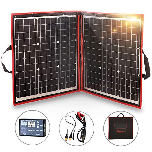 Dokio Potente y multiusos panel solar 80 W       Retira la batería pesada.       Este panel solar contiene 80 W de potencia, pero solo pesa solo 2,1 kg, nuevo controlador de inversor solar (precio original de 25 USD) que puede utilizar sin batería...