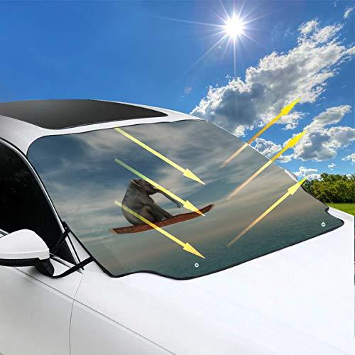 Sombra de la ventana del automóvil para suv Un lindo bebé elefante flotante Sombrilla para el automóvil 57.9x46.5 pulgadas (147cmx118cm) para la mayoría de los vehículos Proteja el parabrisas y el li