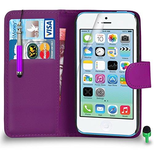 Apple iPhone 5C hülle Prämie Leder LILA Brieftasche Flip Fall Abdeckung mit Einziehbar touch-Stylus GRÜN Kappe Bildschirmschutz & Poliertuch