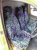 I -, um eine Fiat Scudo 2002Van, Sitzbezüge, Blau Leopard-Kunstfell Stoff (1Single + 1Double)