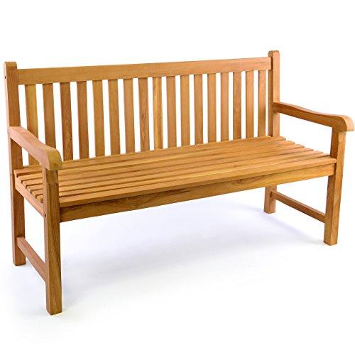 DIVERO 3-Sitzer Bank Holzbank Gartenbank Sitzbank 150 cm – zertifiziertes Teak-Holz behandelt hochwertig massiv – reine Handarbeit – wetterfest (Teak behandelt) - 4