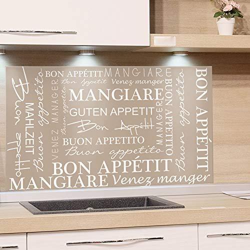 GRAZDesign Spritzschutz Glas für Küche Herd, Bild-Motiv braun Guten Appetit international alle Sprachen, Küchenrückwand Glas Küchenspiegel Glasrückwand / 100x50cm