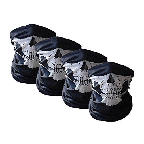 l Maske halb Sturmmaske Schädel Motorrad Gesichtsmaske Tube Maske Multifunktion Kopfbedeckung für Motorrad/Fahrrad/Ski/Paintball Gamer/Halloween Karneval Kostüm (Set 4) (Halloween-motorrad-kostüm)