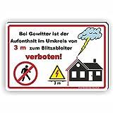 GEWITTER / BLITZABLEITER Abstand halten / Aufenthalt im Umkreis verboten - SCHILD / D-052 (30x20cm Schild)