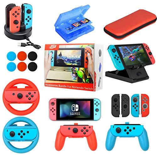 Zubehör-Set für Nintendo Switch 19 in 1 Essential Games Kit für Switch inkl. Joy Con Abdeckungen, Griffe, Rollen und Thumbstick Caps, Tragetasche Ladestation, Spielkarten-Hülle PlayStand -