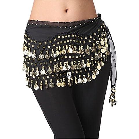 Dance Accessories indiano danza Tribal Danza del ventre Sciarpa 3 Rows 158 monete