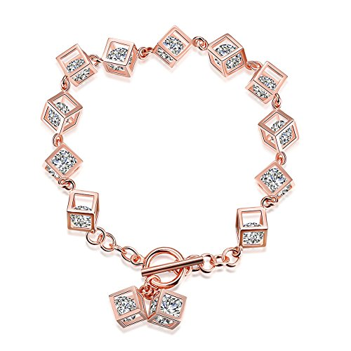 Preisvergleich Produktbild FushoP 925 Sterling Silber Zirkonia Cube Charm Armband (Rose vergoldet)