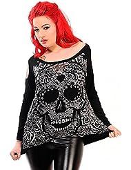 Banned–Mujer Manga Larga Camiseta Manga Larga Candy Skull Top
