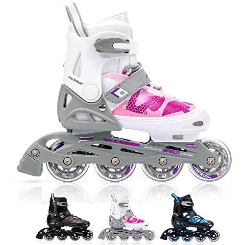 meteor® Inliner Rollen AREA Inline skates Damen Rosa Inliner Kinder Blau Original Inline Skates herren Skates ABEC7 Rollen inliner mit einstellbarer Größe (EU 38-41 (L), Rosa)