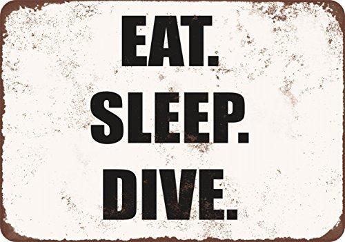 comer-dormir-buceo-vintage-look-funny-metal-signs-12-x-16-pulgadas