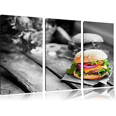 Tasty Burger Nero / Bianco 3 pezzi immagine immagine tela 120x80 su tela, XXL enormi immagini completamente Pagina con la barella, stampe d'arte sul murale cornice gänstiger come la pittura o un dipinto ad olio, non un manifesto o un banner,